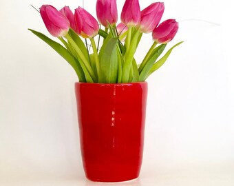 Red Vase, Red Heart Vase, Love You Vase, Small Vase, Cute Vase, Handmade Heart Vase, Red Ceramic Vase, Red Flower Vase, Tulip Vase, Heart