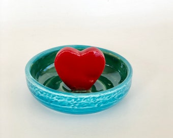 Ring Dish, Valentine's Day Gift, Trinket Dish, Girlfriend Gift, Red Heart, Ring Holder, Heart Ring Dish, Valentines Present, Love You Gift