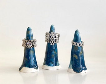 Ring Cone, Ring Holder, Ring Display, Ring Organizer, Jewelry Holder, Jewelry Tree, Blue Ring Holder, Boho Ring Cone, Boho Ring Display