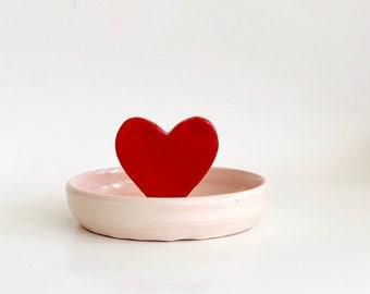Heart Trinket Dish, Trinket Dish, Ring Dish, Girlfriend Gift, Small Heart Dish, Handmade Jewelry Dish, Valentine's Gift, Ring Holder