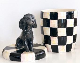 Poodle Lover,  Poodle Cookie Jar, Cookie Jar, Checkered Decor, Poodle Art, Checkered Print, Black Poodle, Checker Decor, Checker Print