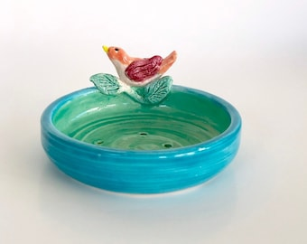 Soap Dish with Bird, Trinket Dish, Catch All, Key Dish, Bird Lover Gift, Powder Room Soap Dish, Soap Holder, Pretty Ring Dish