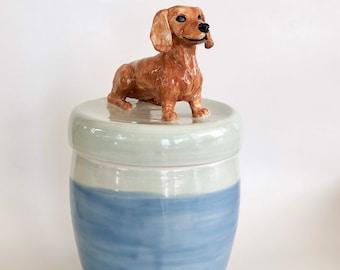 Dachshund Treat Jar, Handmade Dachshund Jar, Dachshund Lover Gift, Dachshund Mom Gift, Dog Cookie Jar, Porcelain Gift Dog, Dog Canister