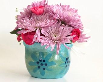 Small Planter, Small Planter Pot, Small Planter for Succulents, Teal Planter, Teal Planter Pot, Green Planter, Ceramic Planter, Mom Gift