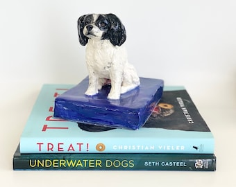 Dog Statue, Dog Paperweight, Ceramic Dog, Pet Sculpture, Papillon Statue, Desk Accessory, Desk Decor, Office Decor, Papillon Lover Gift, Dog