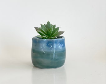 Mini Cactus Pot, Mini Flower Pot, Plant Pot, Planter Pot, Succulent Pot, Cactus Pot, Blue Flower Pot, Blue Planter, Mini Blue Pot, Garden