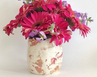 Marbled Vase, Handmade Flower Vase, Ceramic Base, Pencil Cup, Marbled Planter, Cutlery Cup, Small Handmade Vase, Makeup Brush Holder