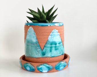 Small Terracotta Planter, Terracotta Pot, Planter Drainage, Mountain Decor, Southwest Style, Terracotta Plant Pot, Indoor Pot, Planters