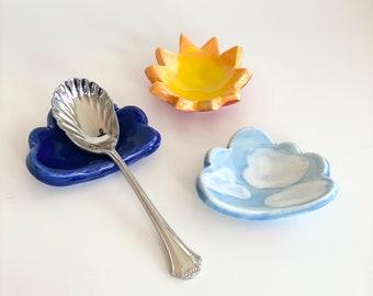 Coffee Spoon Rest, Teaspoon Rest, Spoon Rest, Tea Spoon Holder, Spoon Holder for Coffee, Handmade Spoon Rest, Teacher Gift, Clouds