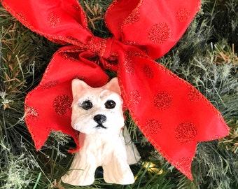 Handmade Westie, Westie Ornament, Dog Christmas Ornament, Dog Ornament, Westie Lover Xmas, Westie Lover Gift, Westie Holiday Gift, Westie