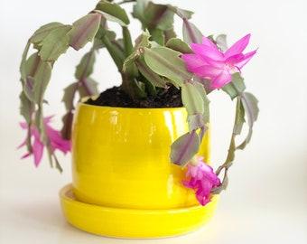Yellow Planter with Holes, Bright Yellow Planter, House Planter, Boho Style Pot, Neon Yellow Planter, Retro Pot, Bromeliad Pot, Begonia Pot
