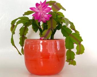 Red Planter Pot, Ceramic Flower Pot,  Handmade Flower Pot, Orange Planter, Ceramic Planter, Boho Planter, Red Pot, Cactus Pot, Succulent Pot