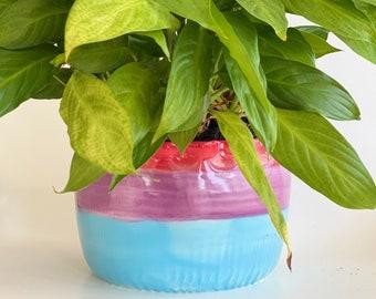 "Seconds : Rainbow Planter, Handmade Planter, Rainbow Pot, Colorful Planter, LGBTQ Planter, Cachepot, 4"" Planter, Plant Mom, Mothers Day"