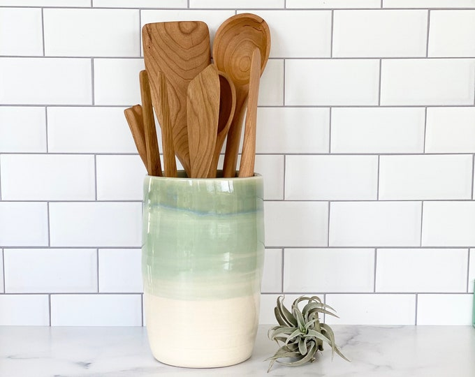 Featured listing image: Utensil Crock, Ceramic Utensil Holder, Kitchen Utensil Holder, Kitchen Accessory, Utensil holders, Housewarming gift, Kitchen gift, Canister