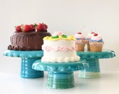 Reversible Cake Stand/ Hors D'oeuvres Server in Green and Blue or Yellow