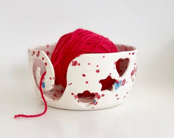 Small Yarn Bowl in Red White and Blue