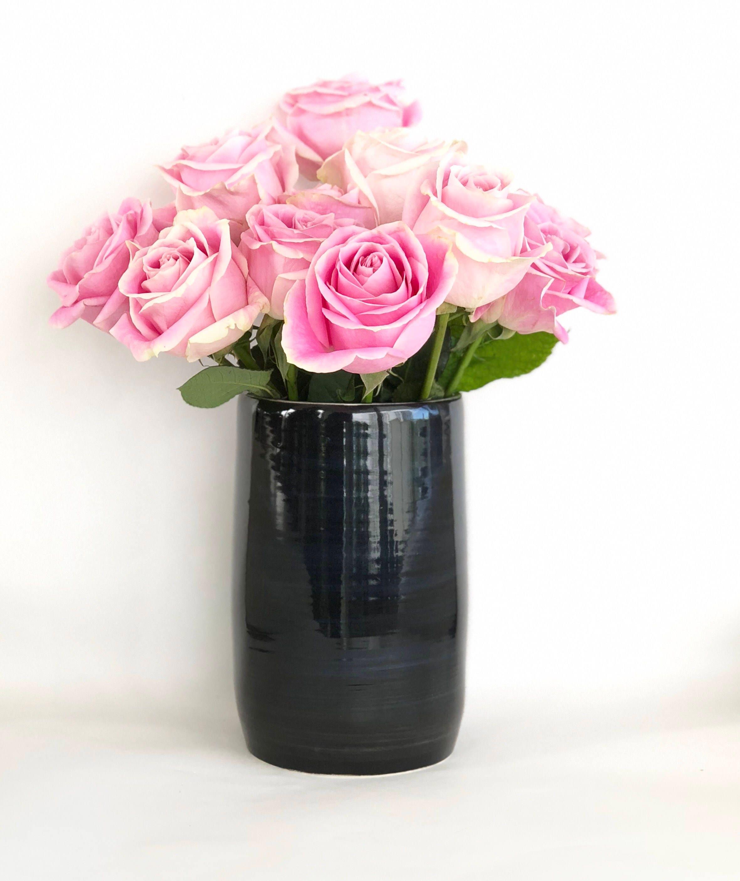 Black And White Flower Vase Handmade Wheel Thrown