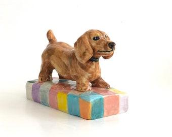 Dachshund Paperweight, Dachshund Art, Dachshund Statue, Dachshund Sculpture, Wiener Dog, Dachshund Puppies, Dachshund Puppy Gift, Dog Art