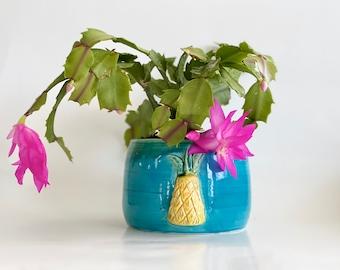 Planter Pot, Tropical Decor, Pineapple Decor, Boho Planter, Boho Pot, Cute Pineapple, Turquoise Planter Pot, Beach House Pot, Tropical Home