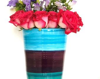 Handmade Flower Vase, Blue Vase, Purple Vase, Turquoise Flower Vase, Large Vase, Boho Vase, Boho Flower Decor, Stripe Vase, Big Flower Vase