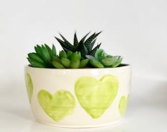 Heart Pot, Plant Pot, Planter Pot, Blue Pot, Cactus Pot, Heart Pot, Bright Planter, Cute Planter, Love You Gift, Heart Planter
