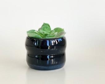 Mini Black Pot, Black Planter Pot, Mini Planter Pot, Black Planter, Home Office Decor, Black Flower Pot, Mini Pot, Ceramic Pot, Cactus Pot