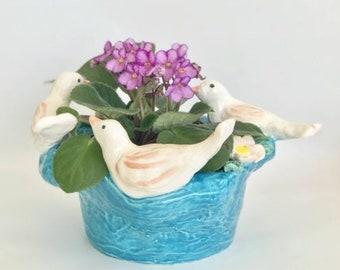 Flower Pot, Blue Flower Pot, Cache Pot, Bird Lover Gift, Mother's Day Gift, Birthday Gift, Christmas Gift, Planter Pot, Handmade Planter