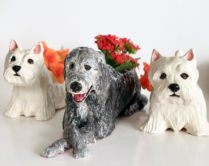 Featured listing image: Custom Dog Planter, Personalized Dog Sculpture, Dog Planter, Dog Portrait, Pet Memorial Gift, Pet Loss Gift, Dog Lover Gift, Dog Cactus Pot