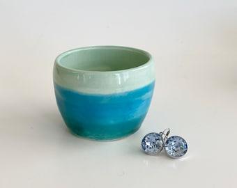 Trinket Pot, Ombré Bowl, Turquoise Trinket Pot,  Ceramic Trinket Pot, Mini Pot, Jewelry Pot, Aqua Trinket Pot, Tiny Pot, Cute Trinket Pot