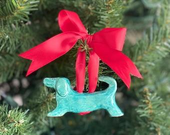 Dachshund Christmas Ornament, Green Ornament, Dog Ornament, Dog Christmas Ornament, Green Dog Ornament, Dog Lover Ornament, Dog Lover Gift
