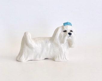 Maltese Paperweight, Handsculpted Ceramic Maltese, Clay Maltese, Maltese Figurine, Dog Paperweight, Maltese Lover Gift