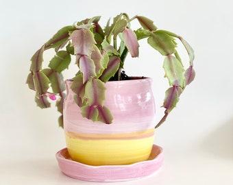 Flower Pot, Pink Flower Pot, Planter With Saucer, Pink Planter Pot, Pink Planter, Pot and Saucer, Handmade Planter, Yellow Flower Pot