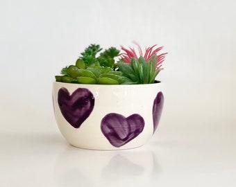 Heart Flower Pot, Plant Pot, Planter Pot, Purple Pot, Cactus Pot, Heart Pot, Bright Planter, Cute Planter, Valentines Day, Heart Planter