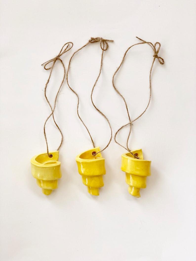 Lemon Yellow Set of 3 Handmade Spiral Air Plant Holders