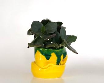 Abstract Mini Pot, Mini Planter Pot, Boho Planter, Boho Style Pot, Yellow Planter, Mini Planter, Mini Pot, Cute Planter, Abstract Planter