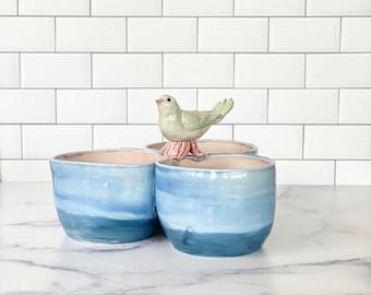 Foodie Gift, Porcelain Serving Bowls, Chip Dip Bowls, Appetizer Bowls, Sauce Bowls, Dipping Sauce Bowls, Dip Serving Bowls, Bird Lover Gift