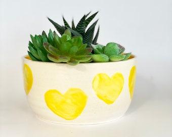 Flower Pot, Plant Pot, Planter Pot, Yellow Pot, Cactus Pot, Heart Pot, Bright Planter, Cute Planter, Friend Birthday Gift, Heart Planter
