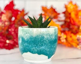 Indoor Planter, Green Planter, Indoor Garden, Window Planter, Succulent Pot, Porcelain Planter, Cache Pot, Small Planter, Pottery Planter