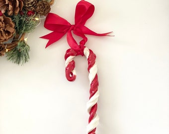 Candy Cane Ornament, Handmade Candy Cane Ornament, Ceramic Candy Cane, Secret Santa Ornament, Secret Santa Christmas Gift, Ornament