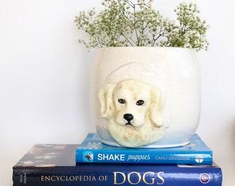 Golden Retriever Gift, Handmade Flower Pot, Ceramic Flower Pot, Dog Lover Gift, Garden Gift,  Indoor Garden, Golden Retriever Mom, Retriever