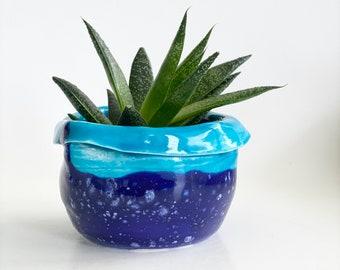 Hand Thrown Planter, Blue Planter, Blue Pot, Cactus Pot, Cactus Planter, Small Cactus Pot, Mini Planter Pot, Succulent Pot, Ceramic Planter