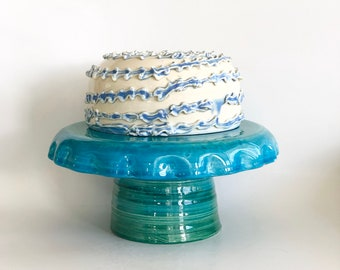 Blue Cake Stand, Hors D'oeuvres Server, Baker Gift, Cake Lover Gift, Birthday Party, Ceramic Cake Stand, Handmade Cake Stand, Cake Plate