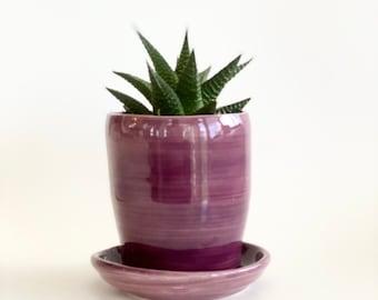 Flower Pot, Purple Planter Pot, Planter Pot, Succulent Pot, Purple Flower Pot, Pot and Saucer, Lavender Planter Pot, Pot with Drainage