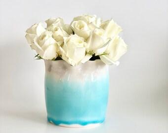 Porcelain Vase, Sky Blue Vase, Tulip Vase, Flower Vase, Mother's Day Gift, Mom Gift, Pottery Vase, Small Vase, Blue Vase, Hand Thrown Vase