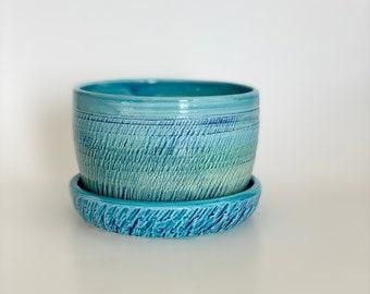 Ceramic Planters, Turquoise Planter, Earthenware Pot, Pretty Aqua Pot, Teal Cactus Pot, Succulent Planter, Glazed Earthenware, Aqua Pot