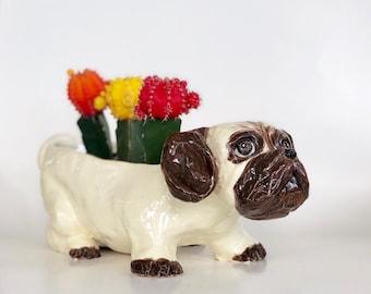 Pug Succulent Pot, Pug Succulent Planter, Pug Pot, Pug Lover Gift, Ceramic Dog Pot, Ceramic Dog Planter, Pug Succulent Holder, Cute Dog Pot