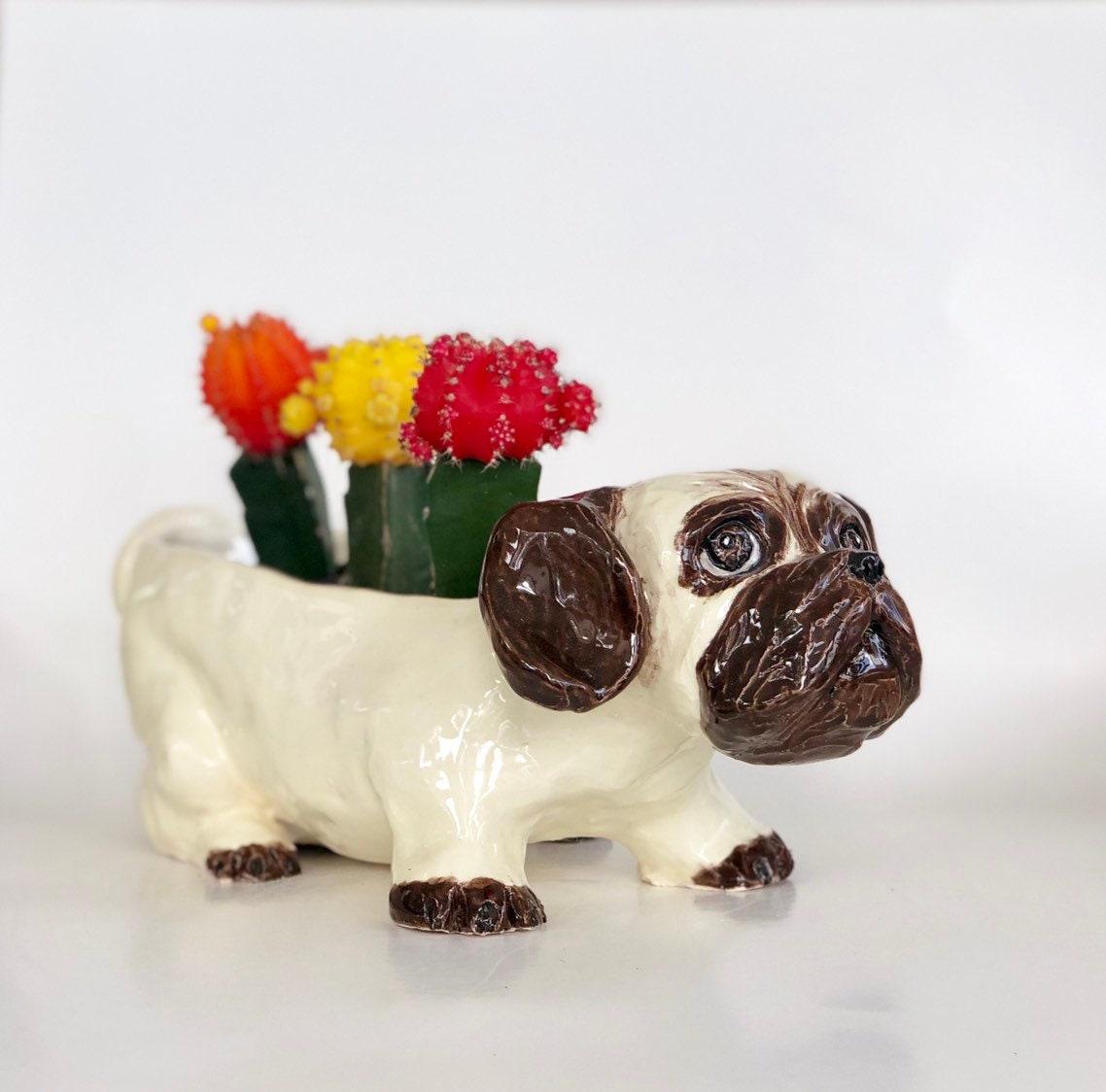 Pug Planter Flower Pot Fawn