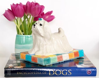 Maltese Paperweight, Handsculpted Ceramic Maltese, Clay Maltese, Maltese Figurines, Dog Paperweight, Maltese Lover Gift