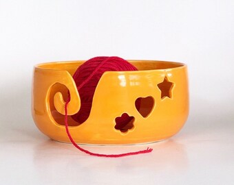 Ceramic Yarn Bowl, Crochet Ceramic Bowls, Orange Yarn Bowl, Knitting Gift, Knitting Lover Gift, Knitting Present, Ceramic Knitting Bowl