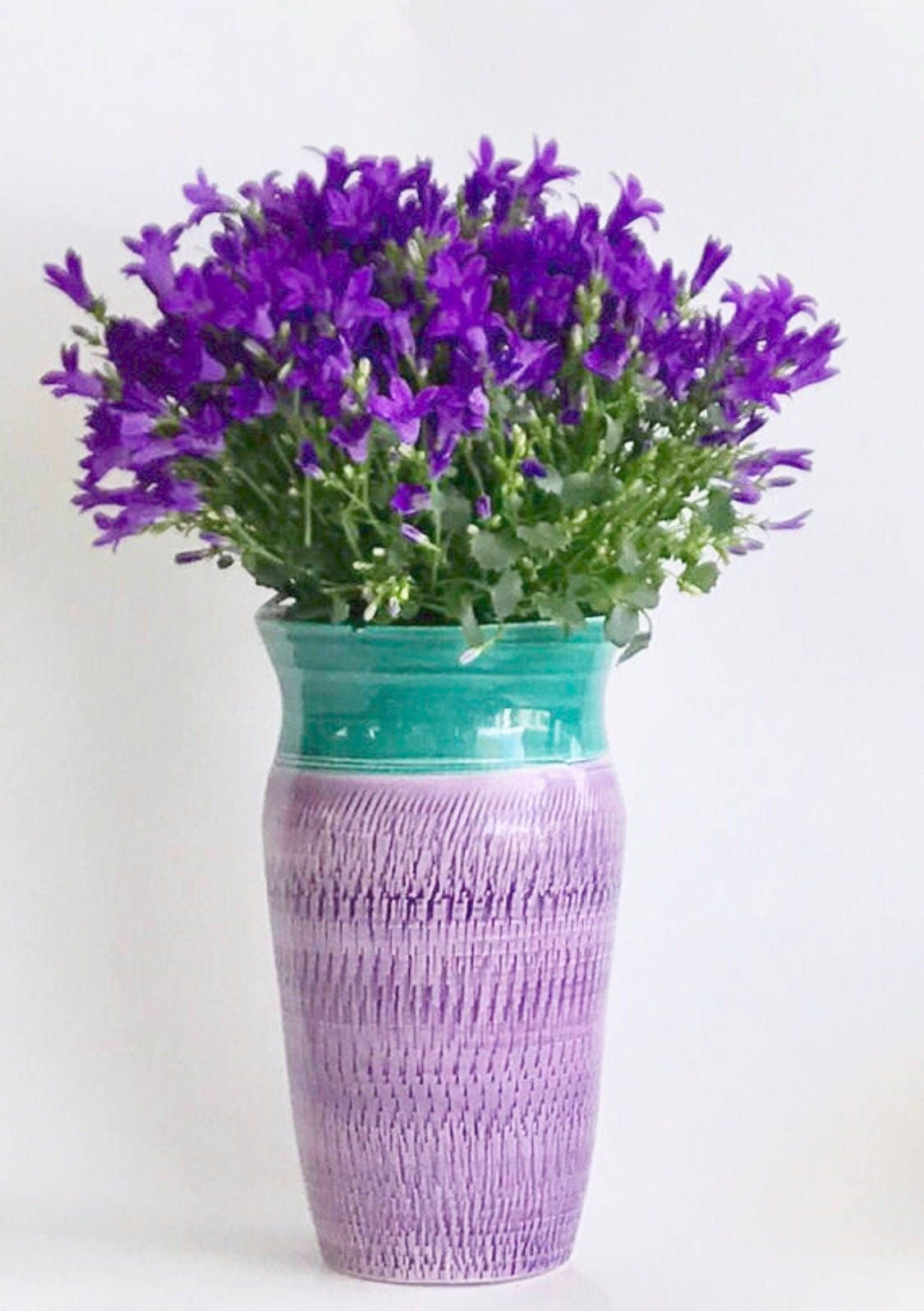 Etsy & Flower Vase in Green and Purple